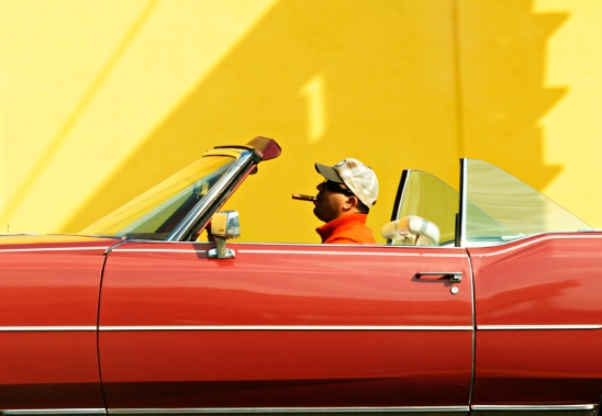 Man in Red Cadillac
